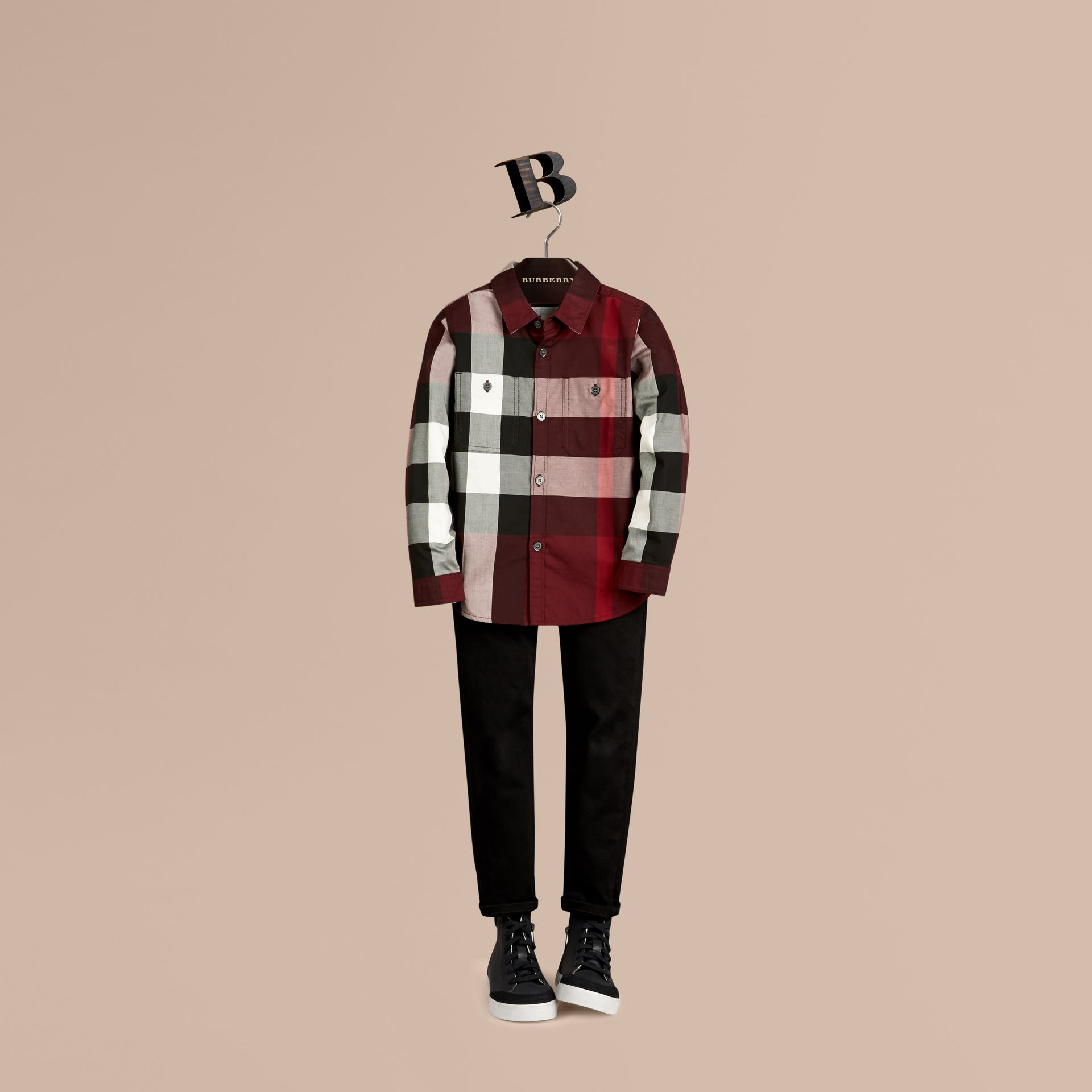 Claret Check Cotton Shirt Claret - gallery image 1