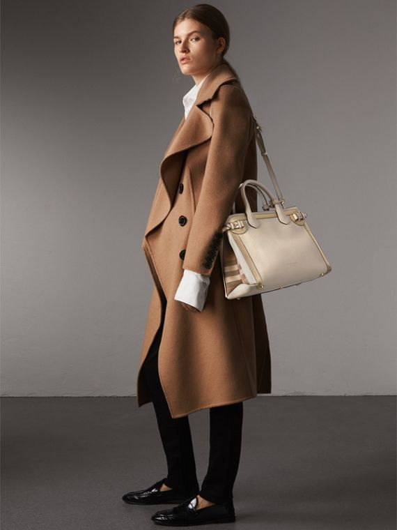 The Medium Banner in Leather with Tonal Appliqué in Limestone - Women | Burberry - cell image 3