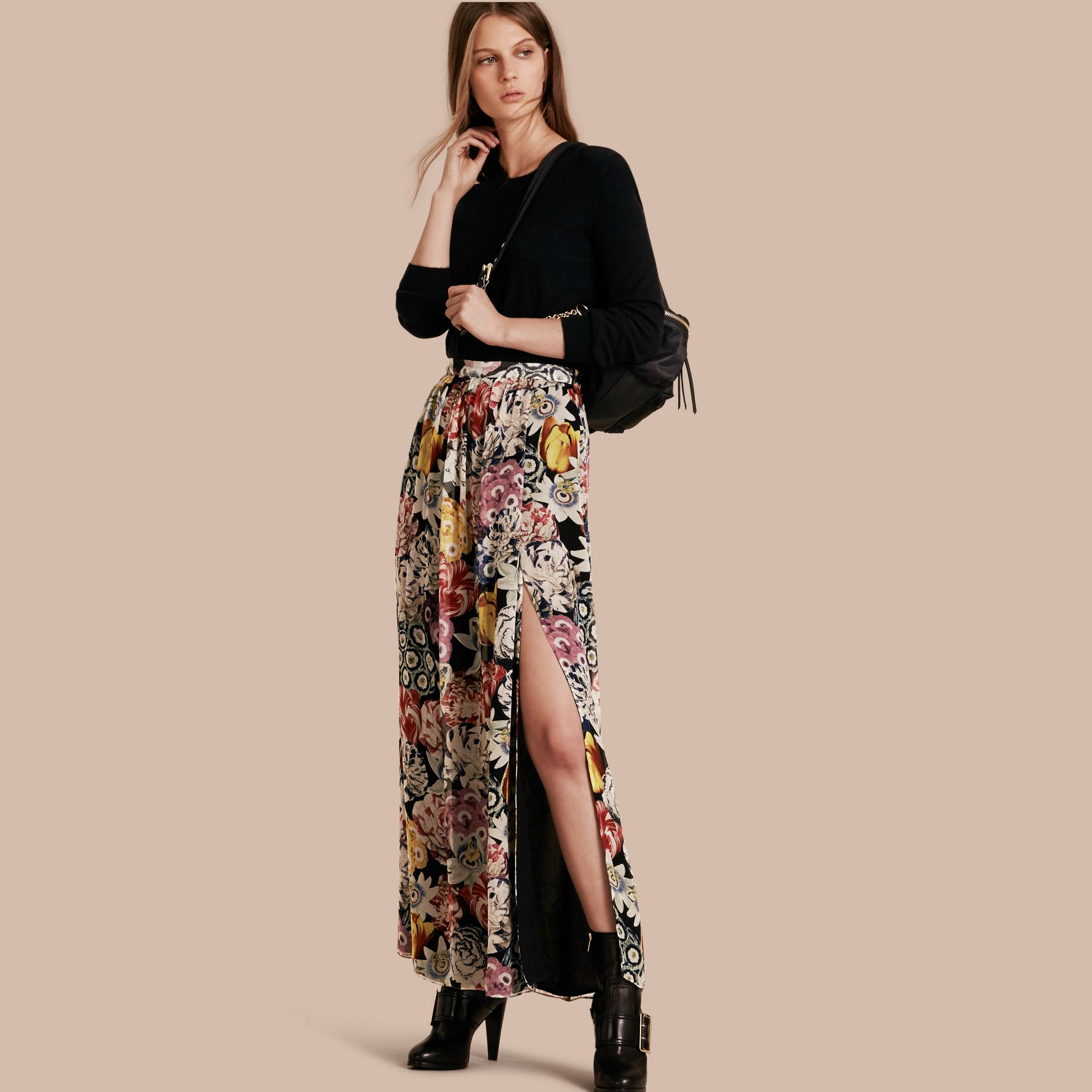 Black Floor-length Floral Print Silk Skirt - gallery image 1