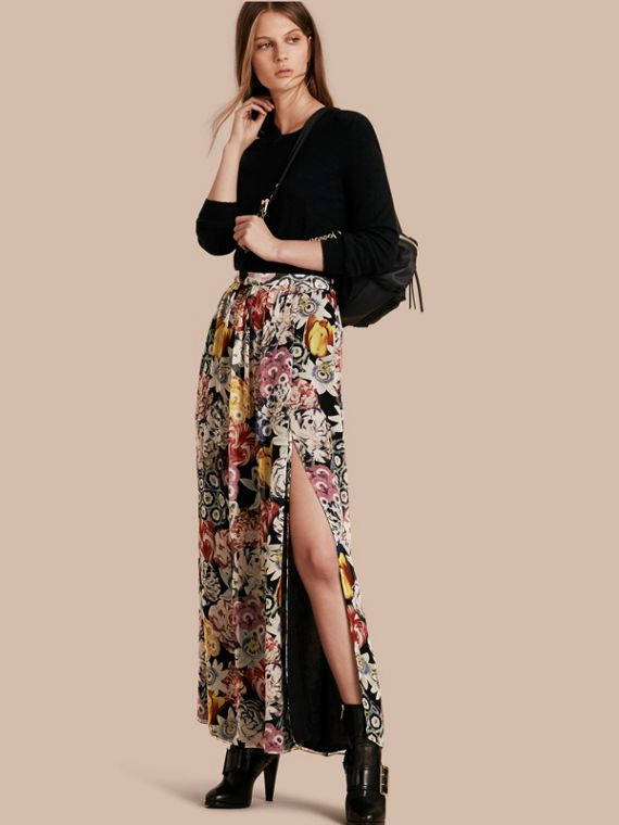 Floor-length Floral Print Silk Skirt