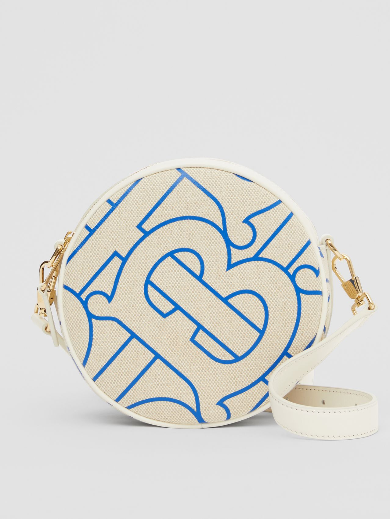 Monogram Motif Canvas and Leather Louise Bag (Natural/blue)