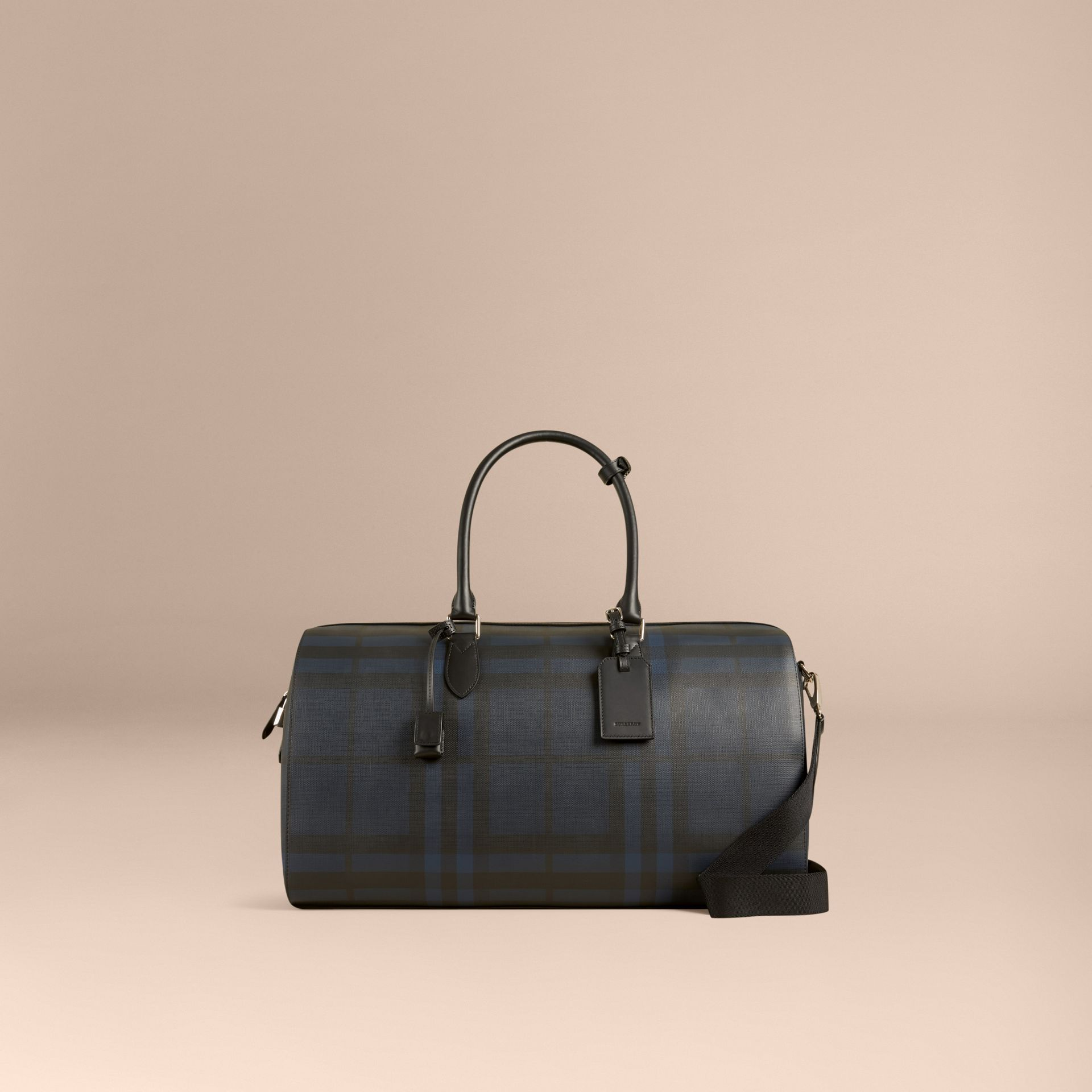 Leather Trim London Check Holdall in Navy/black - gallery image 8