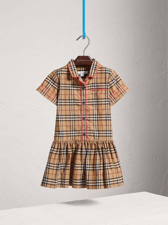 Piping Detail Check Cotton Shirt Dress in Camel - Girl | Burberry - cell image 2