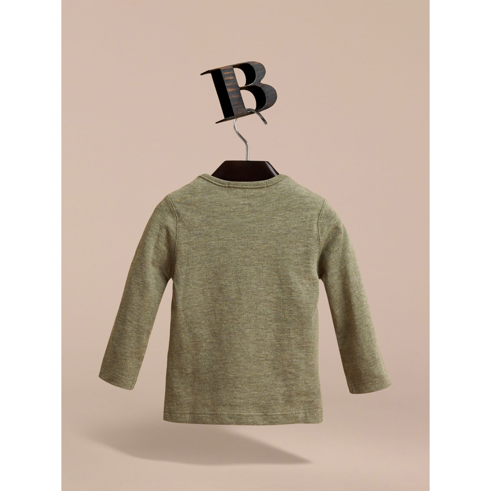 Long-sleeve Check Pocket Cotton T-shirt in Khaki Green Melange - gallery image 3