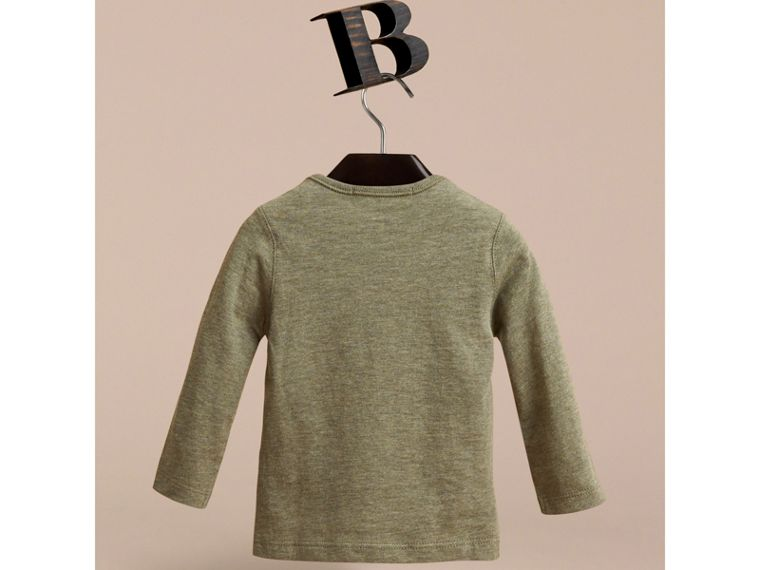 Long-sleeve Check Pocket Cotton T-shirt in Khaki Green Melange - cell image 2