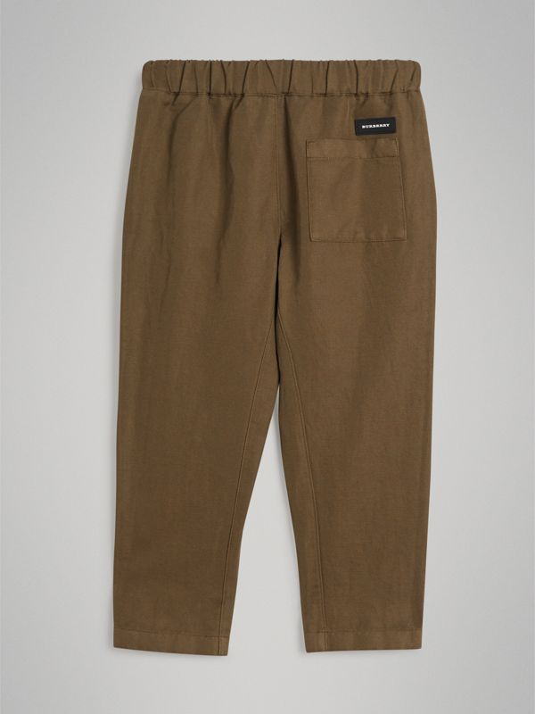 Cotton Linen Drawcord Trousers in Olive | Burberry - cell image 3