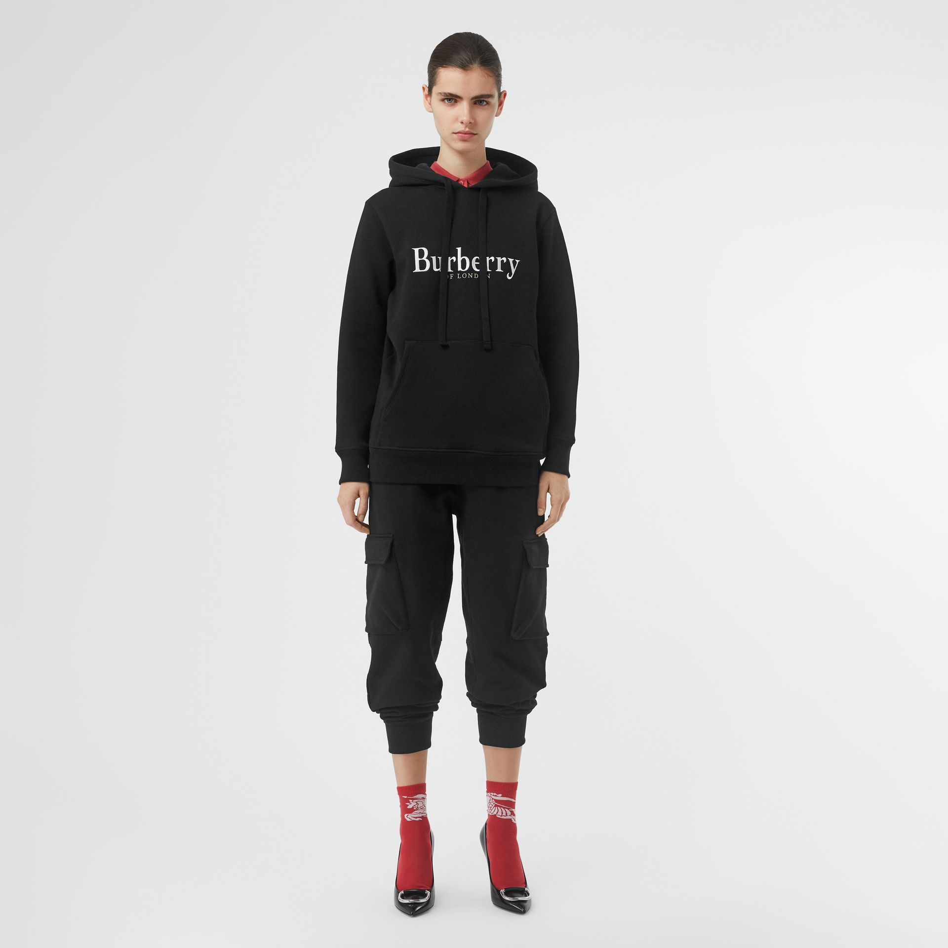 Embroidered Logo Jersey Hoodie in Black - Women | Burberry - gallery image 0