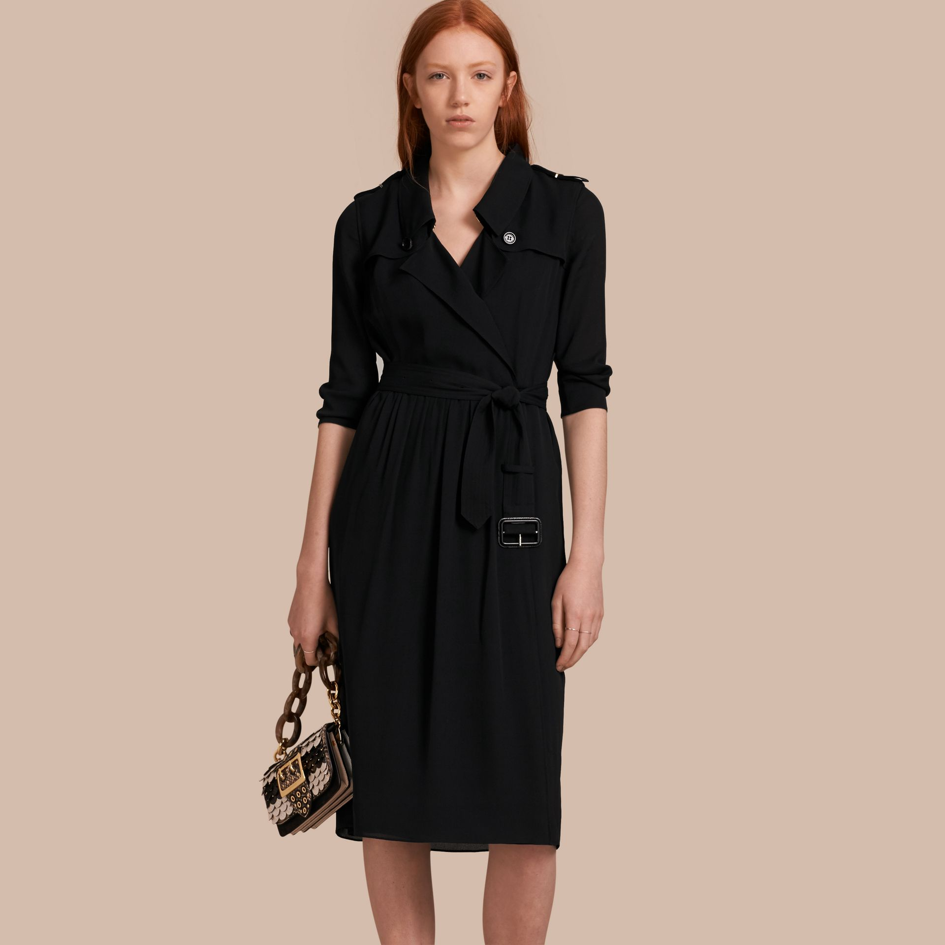 Silk Wrap Trench Dress Black - gallery image 1