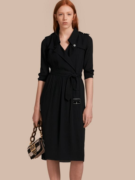 Silk Wrap Trench Dress in Black