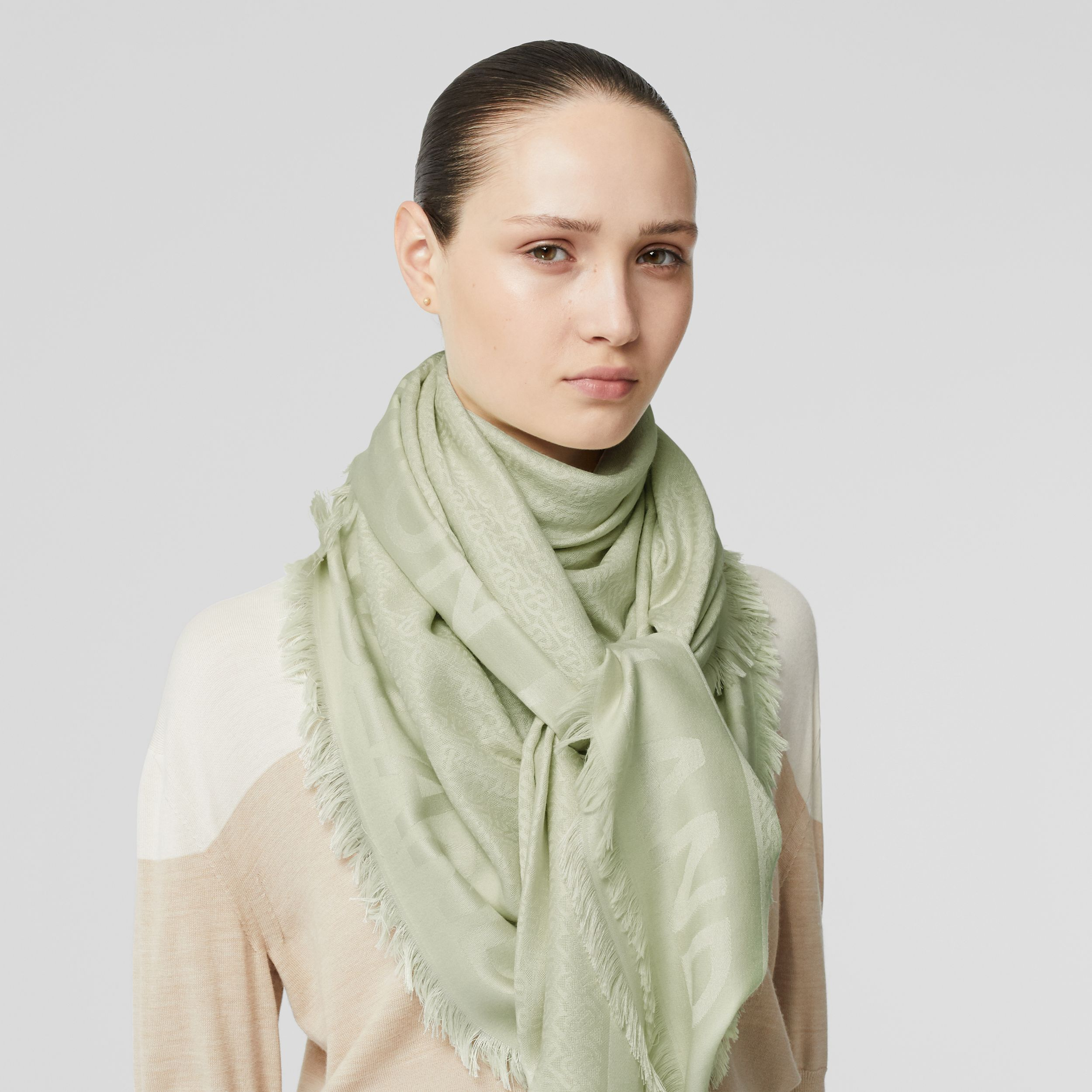 Monogram Silk Wool Jacquard Large Square Scarf in Pistachio | Burberry - 3