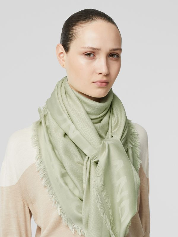 Monogram Silk Wool Jacquard Large Square Scarf in Pistachio | Burberry United States - cell image 2