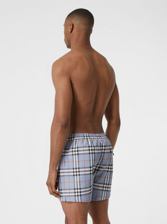 Check Drawcord Swim Shorts in Porcelain Blue - Men | Burberry Australia - cell image 1