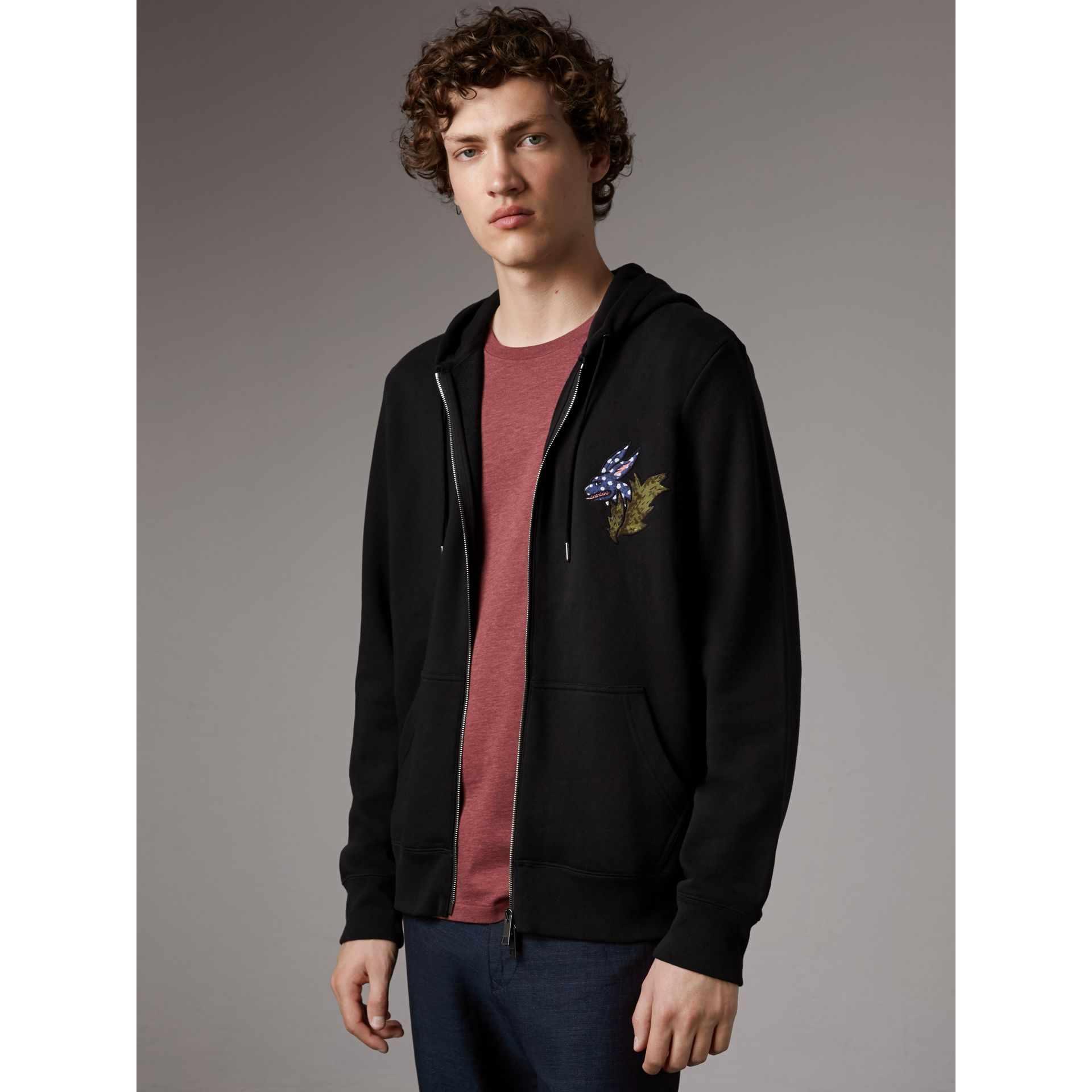 Beasts Motif Cotton Hooded Top in Black - Men | Burberry - gallery image 5