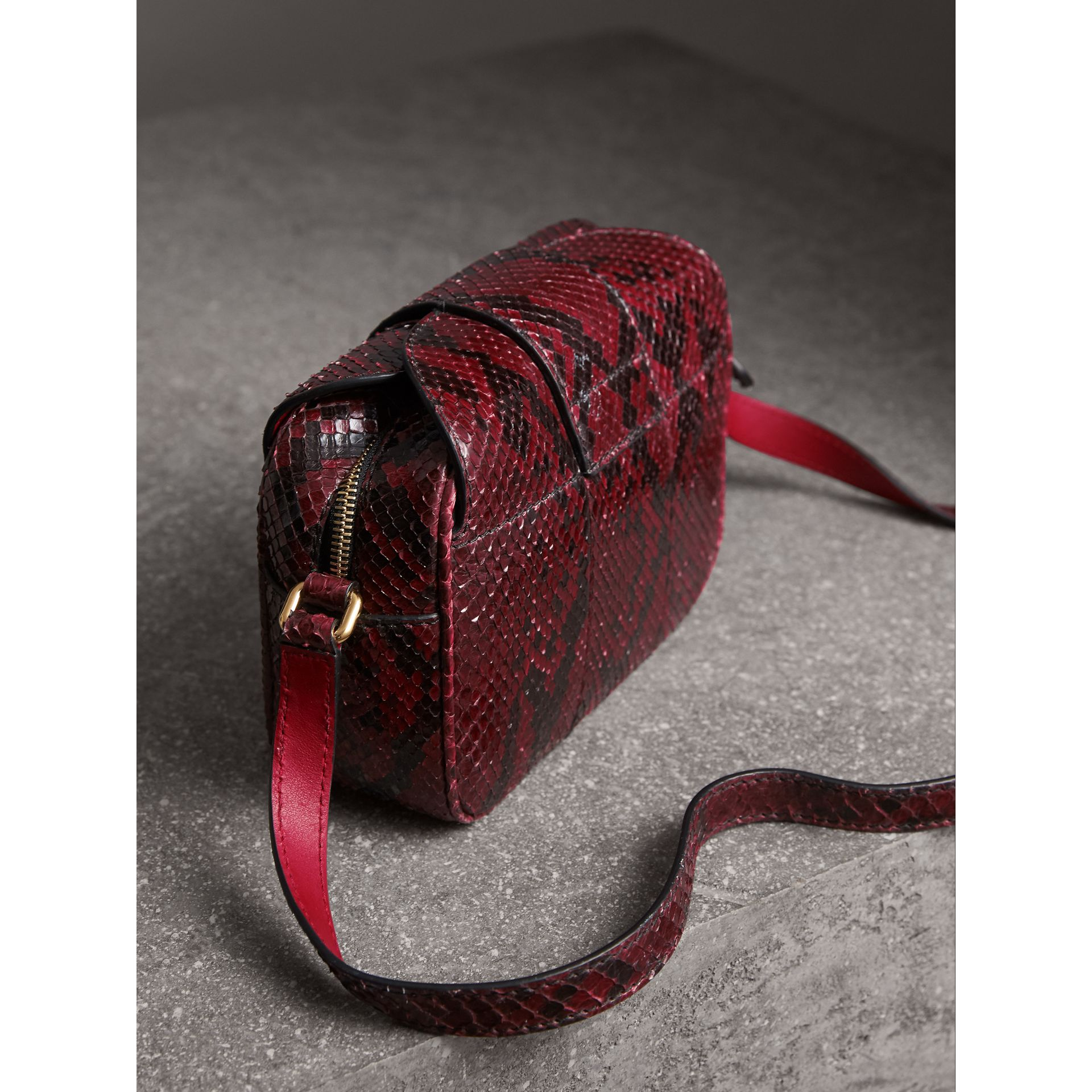 The Small Buckle Crossbody Bag in Python in Burgundy Red - Women | Burberry - gallery image 3
