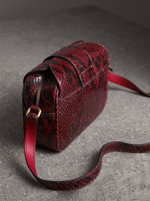 The Small Buckle Crossbody Bag in Python in Burgundy Red - Women | Burberry - cell image 2