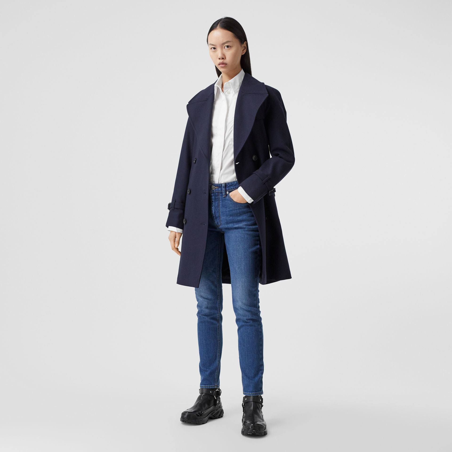 Herringbone Wool Cashmere Blend Trench Coat in Navy - Women | Burberry - gallery image 0