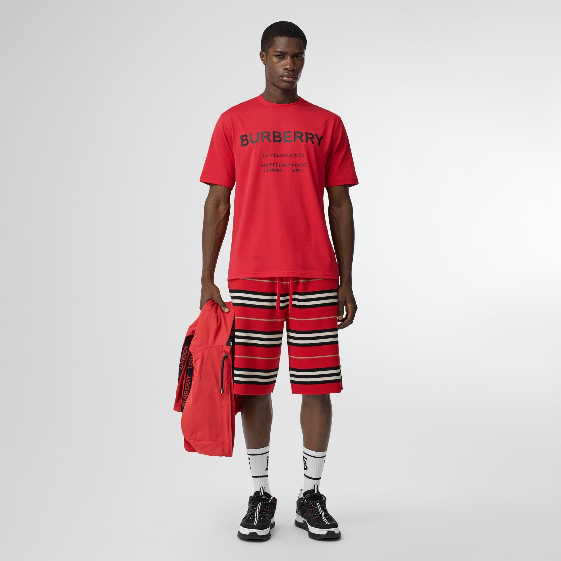 Horseferry Print Cotton T-shirt in Bright Red - Men | Burberry - gallery image 0