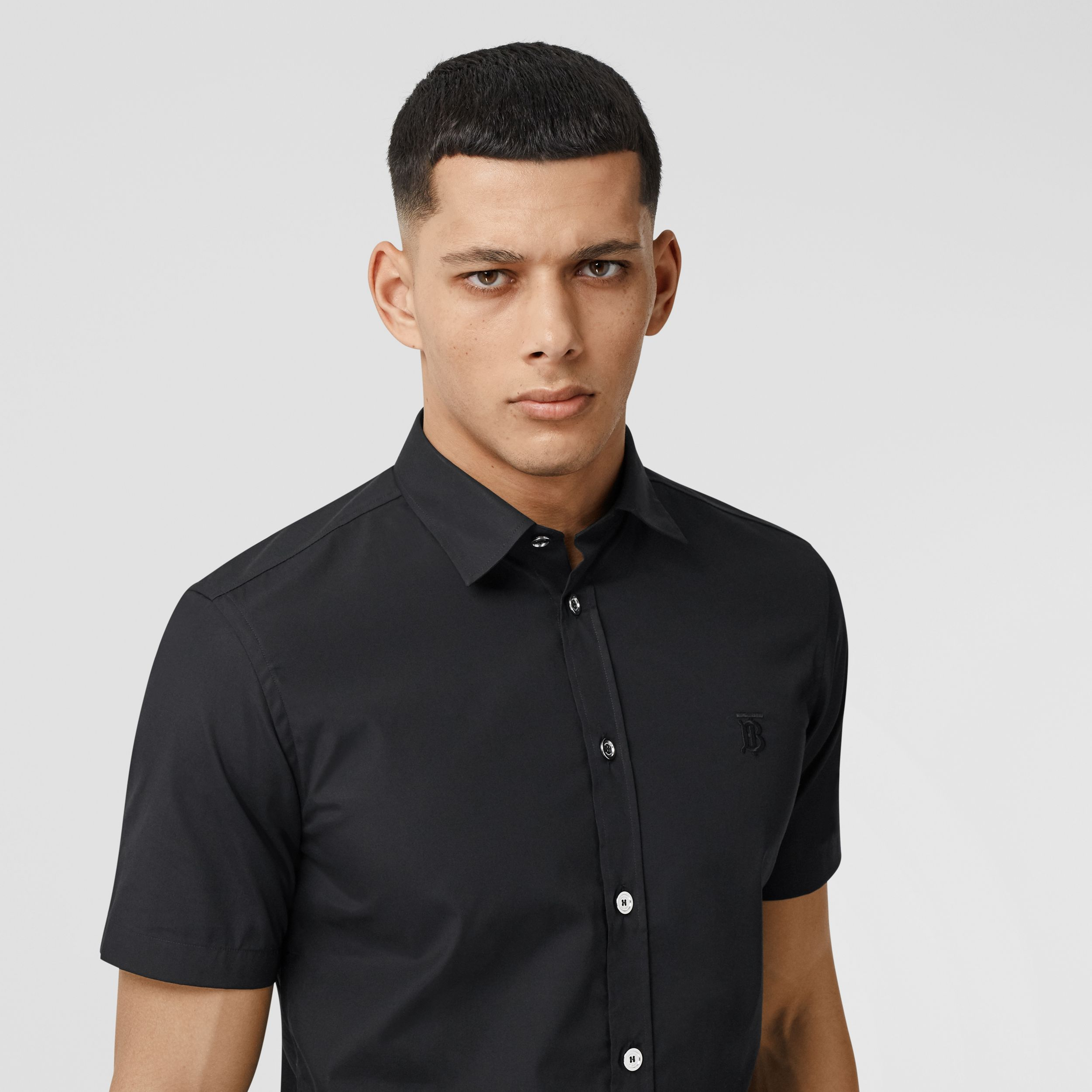 Short-sleeve Monogram Motif Stretch Cotton Shirt in Black - Men | Burberry - 2