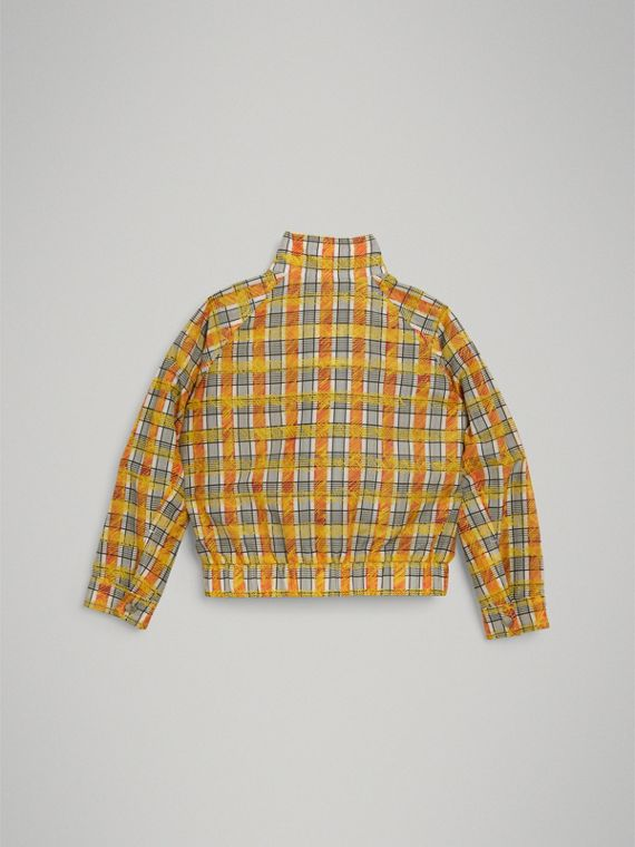 Scribble Check Cotton Silk Harrington Jacket in Bright Yellow - Girl | Burberry - cell image 3