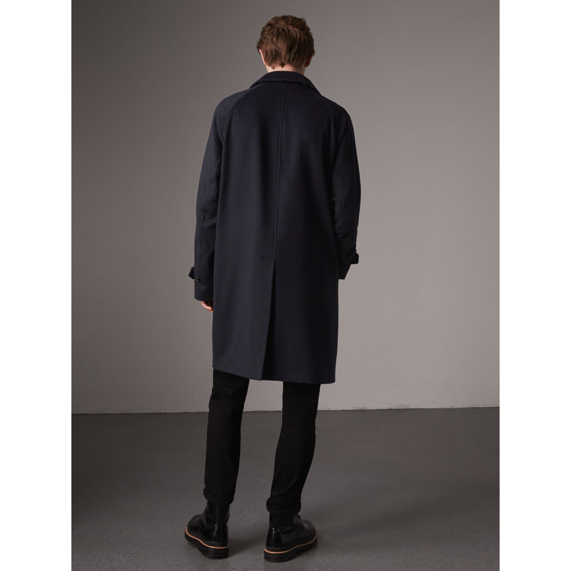 Cashmere Car Coat in Navy - Men | Burberry - gallery image 3
