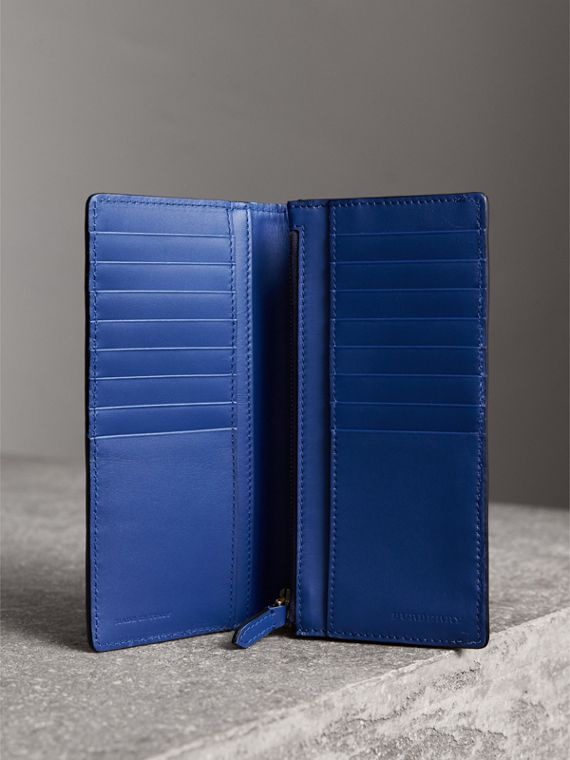 House Check and Grainy Leather Continental Wallet in Deep Blue - Men | Burberry Singapore - cell image 3