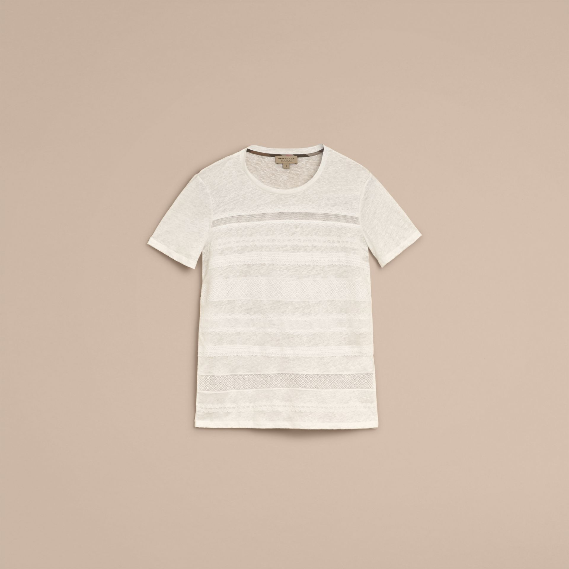 Lace Detail Linen T-shirt - Women | Burberry - gallery image 4