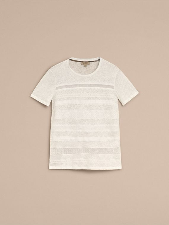 Lace Detail Linen T-shirt - Women | Burberry - cell image 3