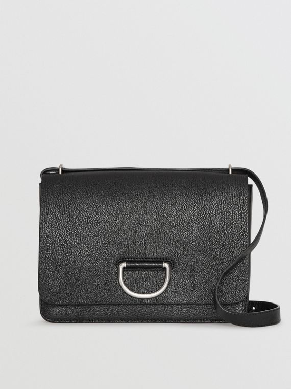 Borsa The D-ring media in pelle (Nero)