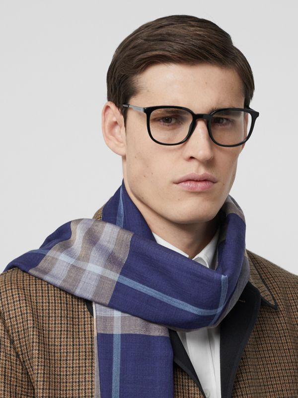 Lightweight Check Wool Silk Scarf in Inky Blue | Burberry - cell image 3