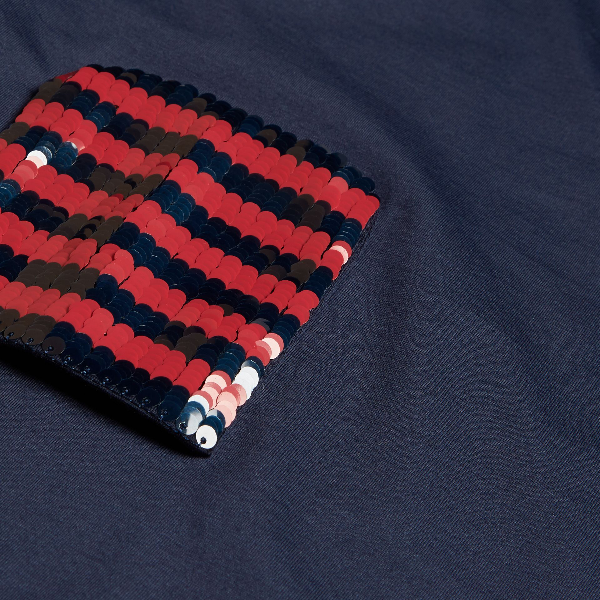Navy Cotton T-shirt with Sequin Stripe Detail Navy - gallery image 2