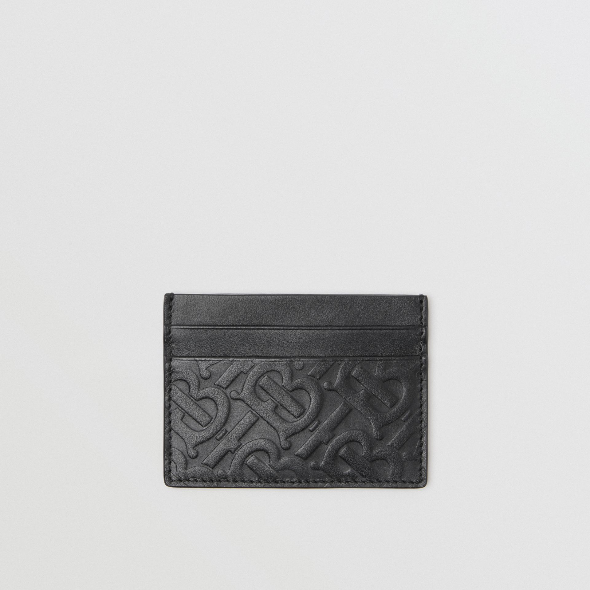 Monogram Leather Card Case in Black - Men | Burberry - gallery image 0