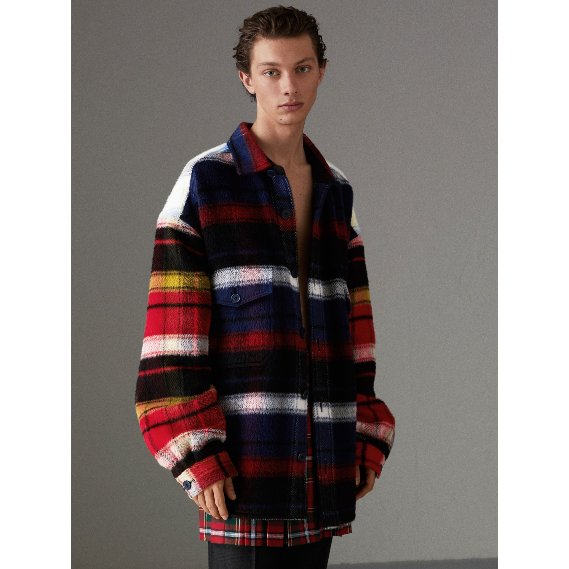 Check Alpaca Wool Jacket in Bright Navy | Burberry United States - gallery image 4