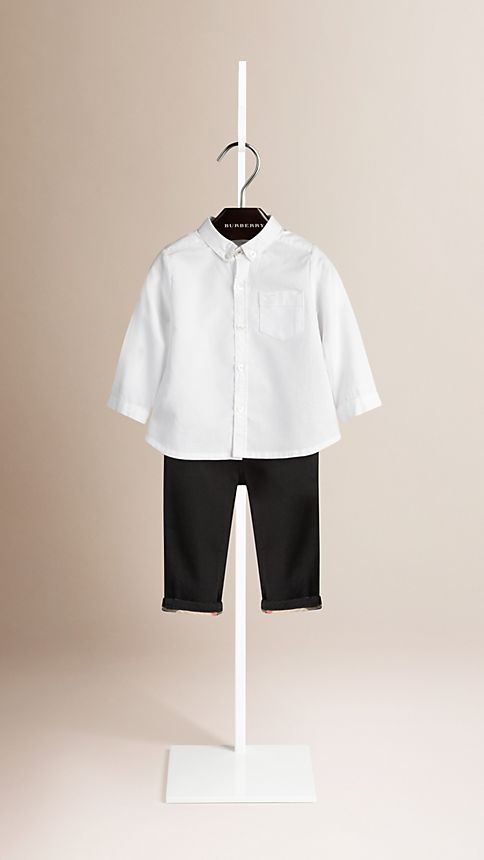White Cotton Oxford Shirt - Image 1