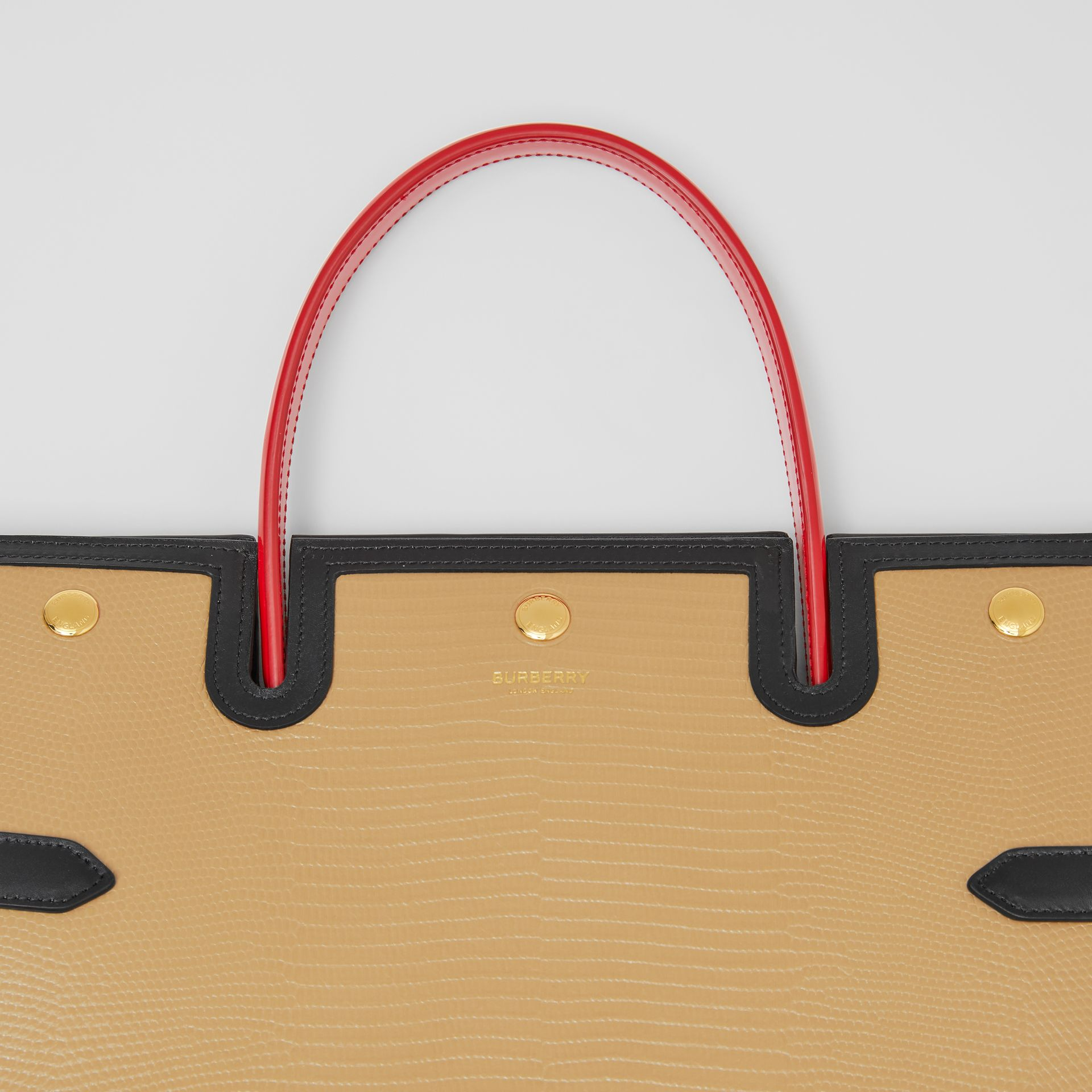 Medium Embossed Leather Title Bag in Honey - Women | Burberry Singapore - gallery image 1