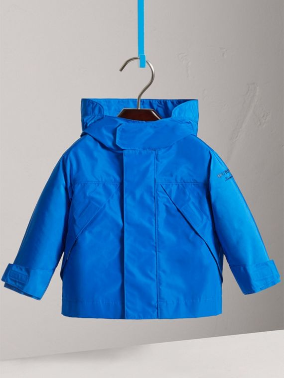Shape Memory Taffeta Hooded Jacket in Azure Blue