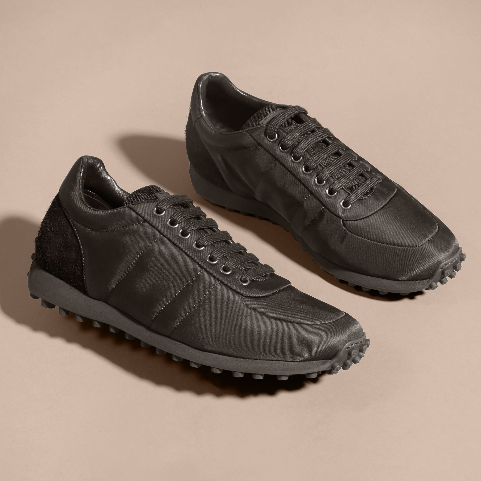 Black Textural Trim Technical Sneakers Black - gallery image 4