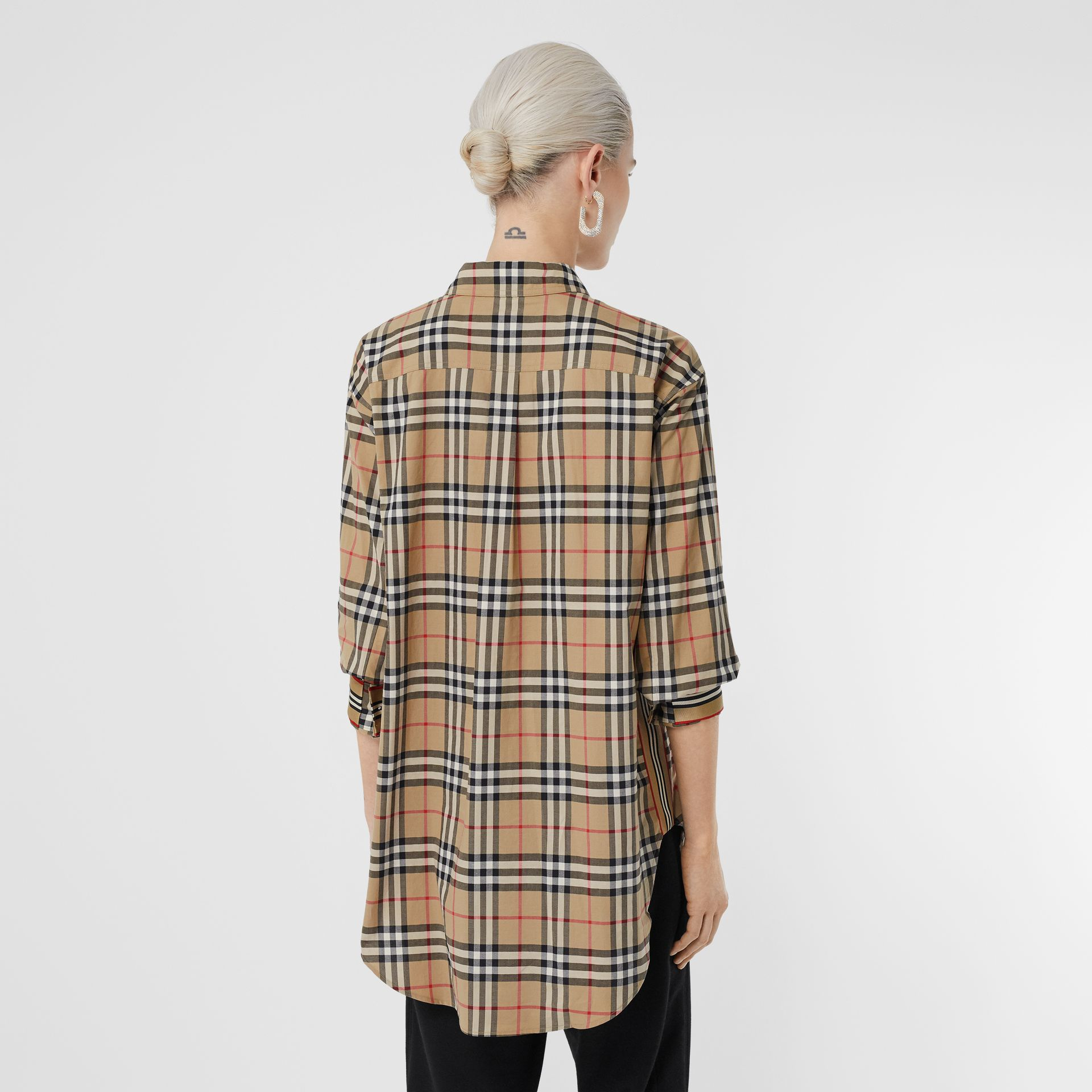 Vintage Check Stretch Cotton Oversized Shirt in Archive Beige - Women | Burberry United States - gallery image 2