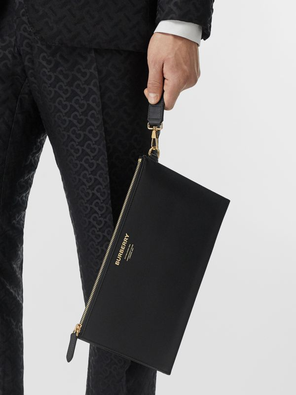 Horseferry Print Leather Zip Pouch in Black - Men | Burberry Canada - cell image 2