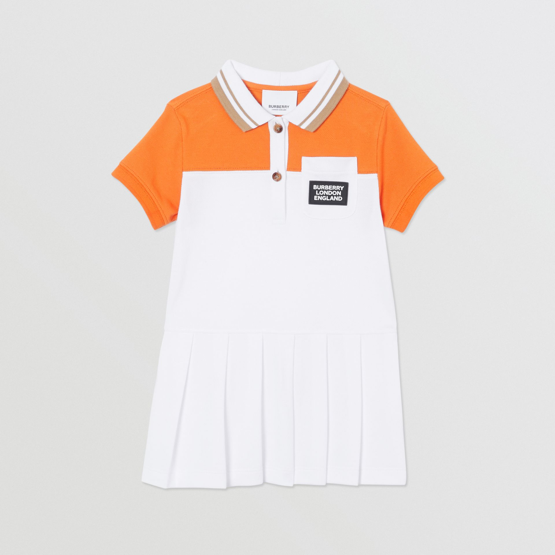 Colour Block Cotton Polo Shirt Dress in Bright Mandarin - Children | Burberry United Kingdom - gallery image 0