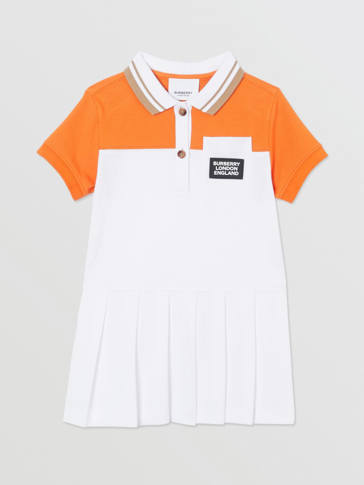 Colour Block Cotton Polo Shirt Dress in Bright Mandarin