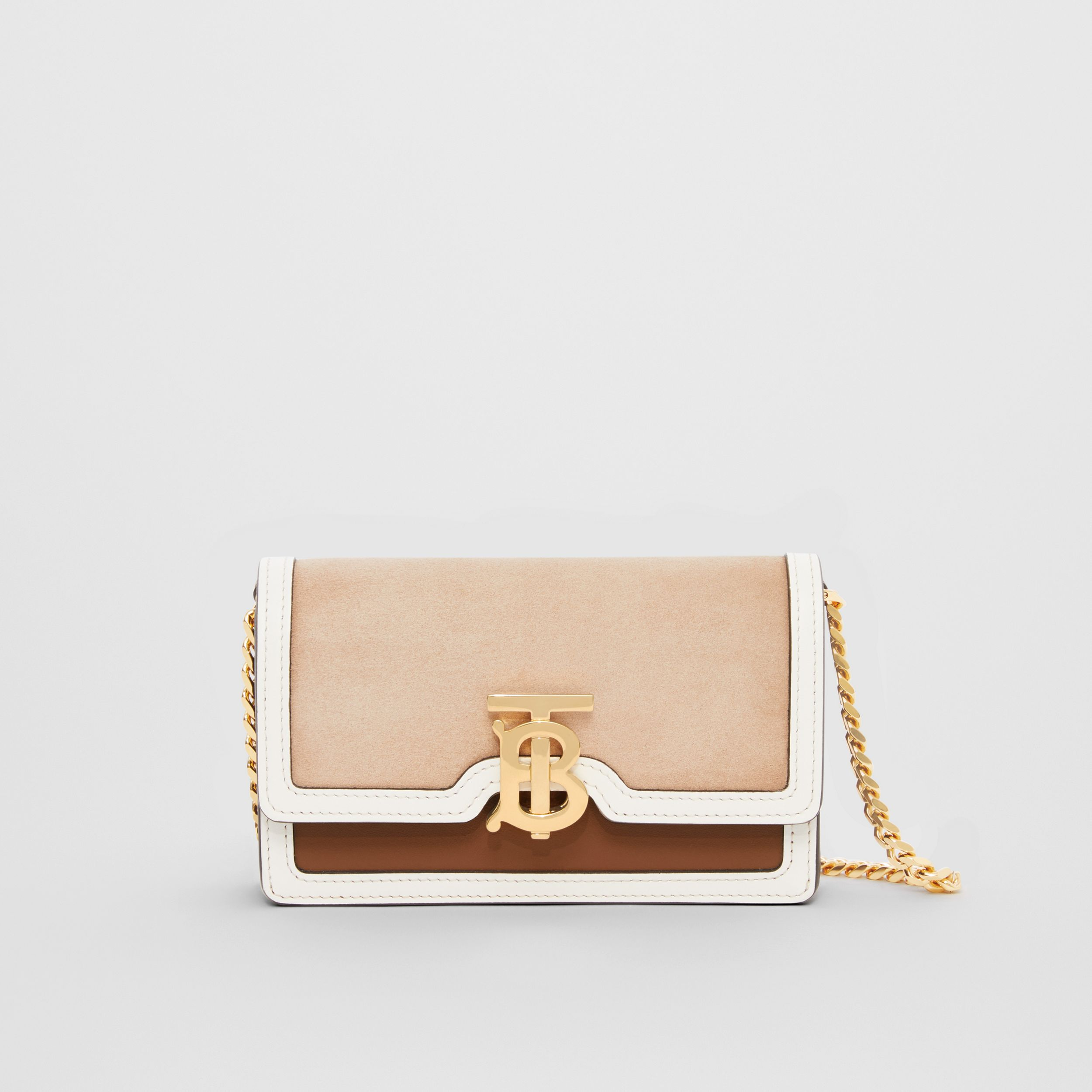 Mini Suede and Two-tone Leather Shoulder Bag in Biscuit - Women | Burberry United States - 1