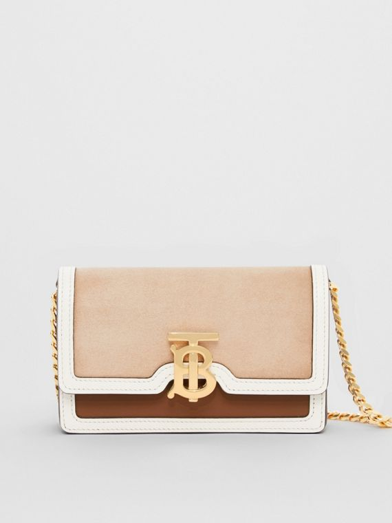 Mini Suede and Two-tone Leather Shoulder Bag in Biscuit