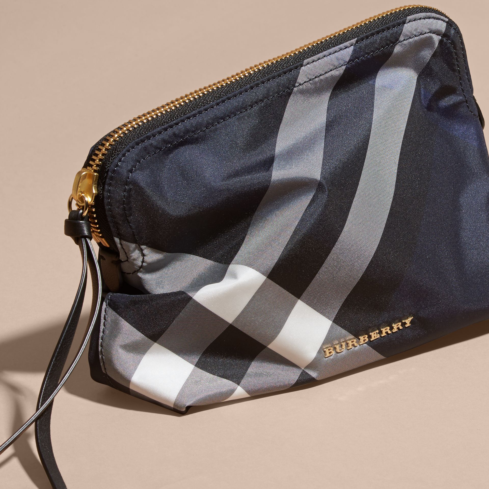 Large Zip-top Check Pouch in Indigo Blue - Women | Burberry Canada - gallery image 3
