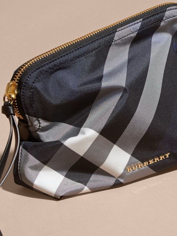 Large Zip-top Check Pouch in Indigo Blue - Women | Burberry Canada - cell image 2