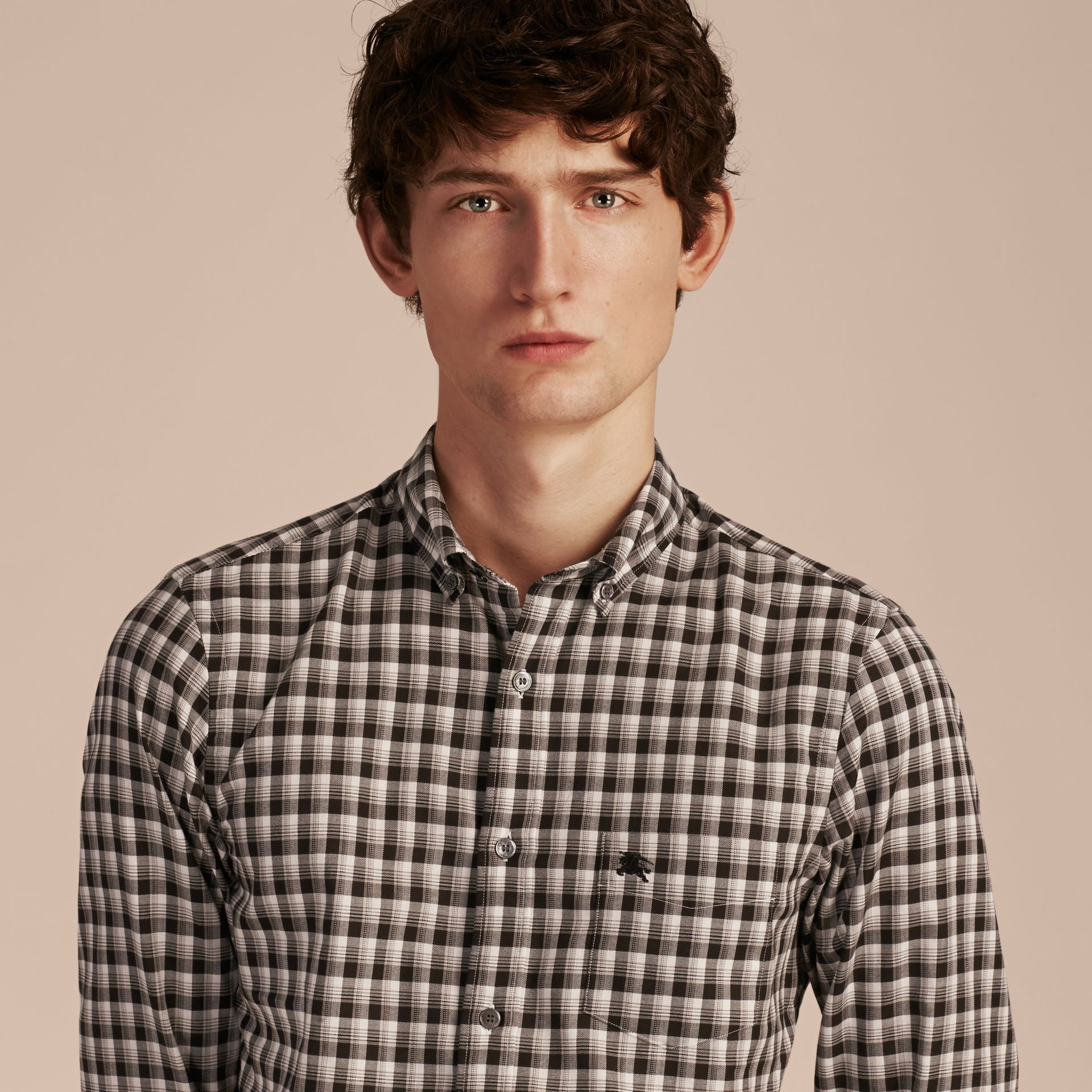 Black Gingham Check Cotton Twill Shirt Black - gallery image 5