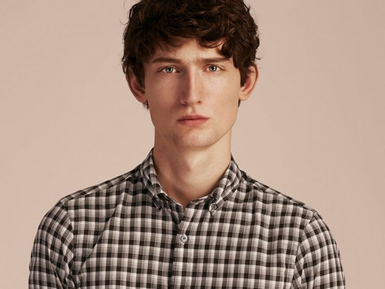 Black Gingham Check Cotton Twill Shirt Black - cell image 4