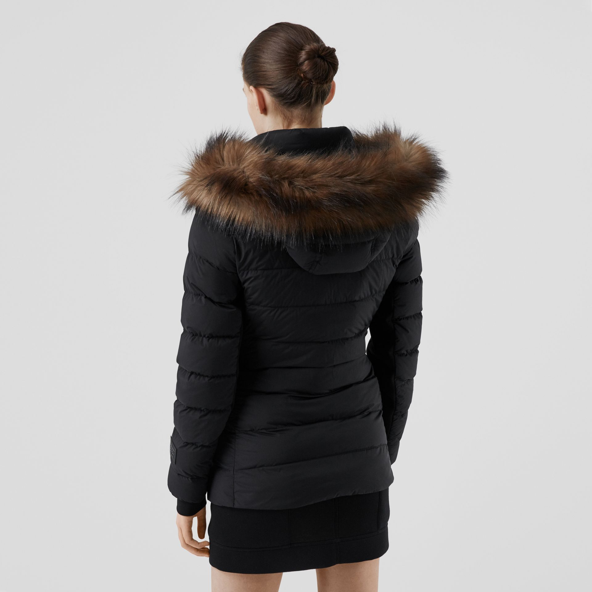 Detachable Faux Fur Trim Hooded Puffer Jacket in Black - Women | Burberry - gallery image 2