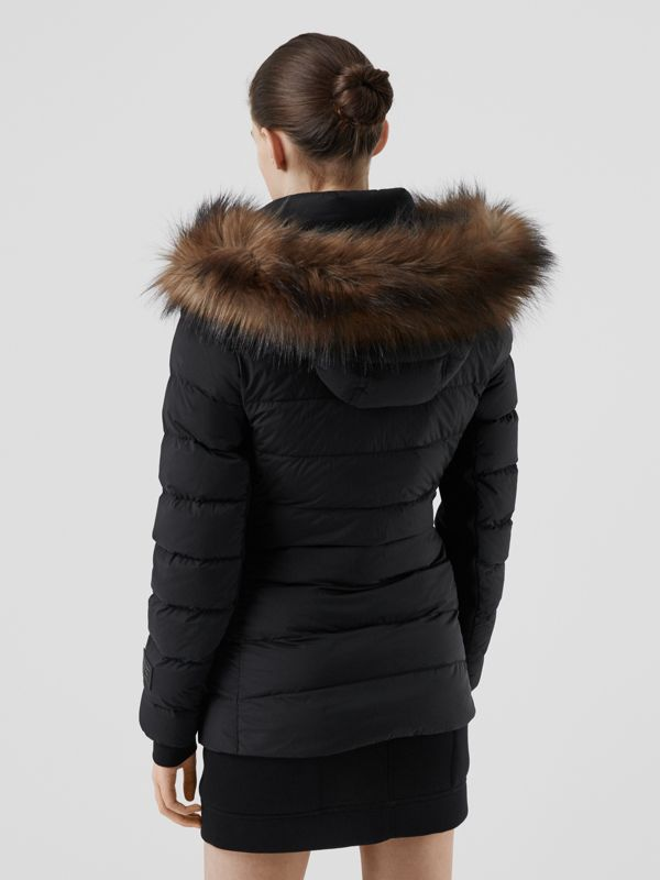 Detachable Faux Fur Trim Hooded Puffer Jacket in Black - Women | Burberry - cell image 2