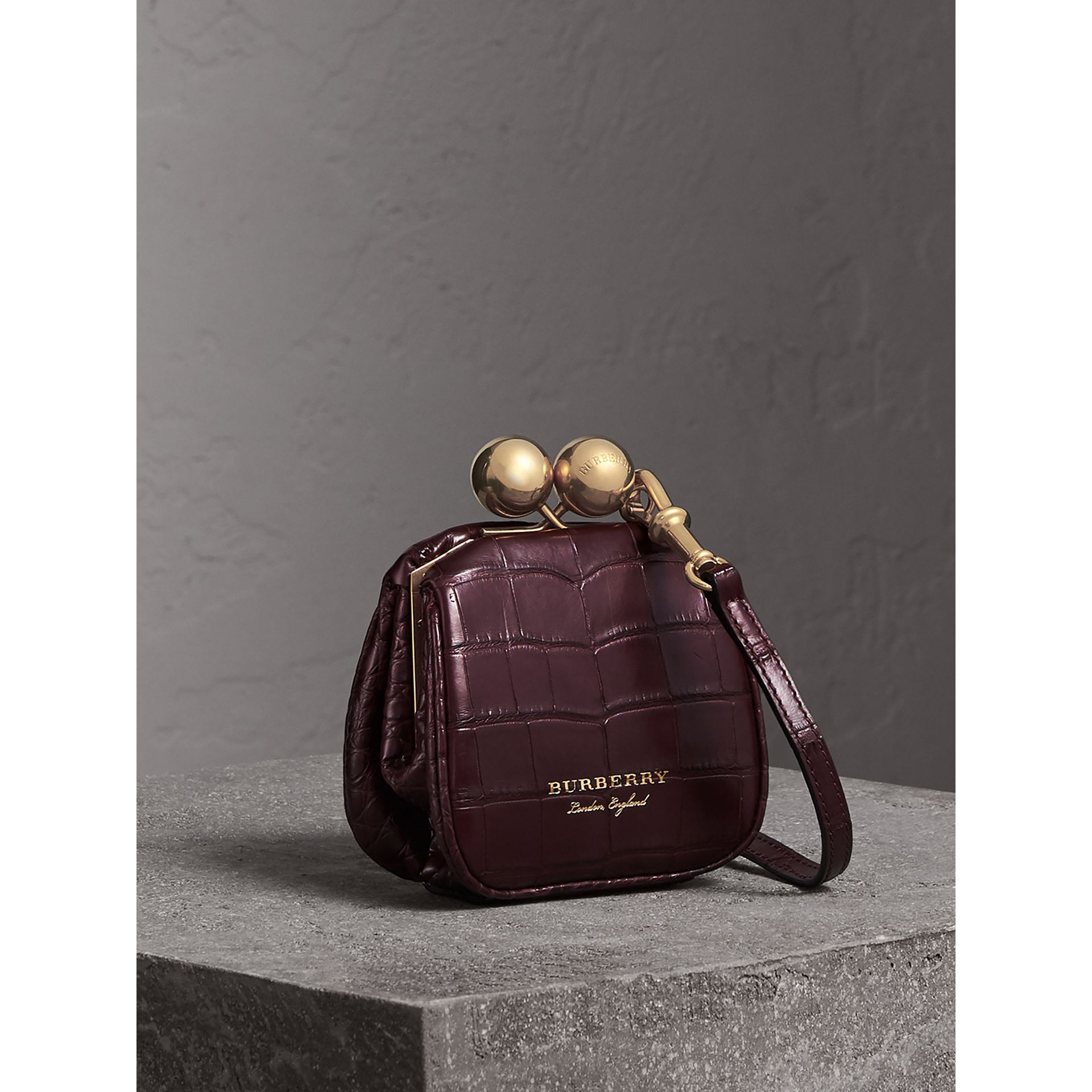 Mini Alligator Metal Frame Clutch Bag in Dark Claret - Women | Burberry - gallery image 4