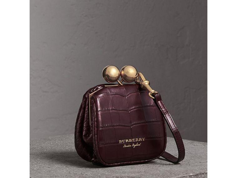 Mini Alligator Metal Frame Clutch Bag in Dark Claret - Women | Burberry - cell image 4